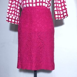Merona Hot Pink Lace Pencil Skirt 12